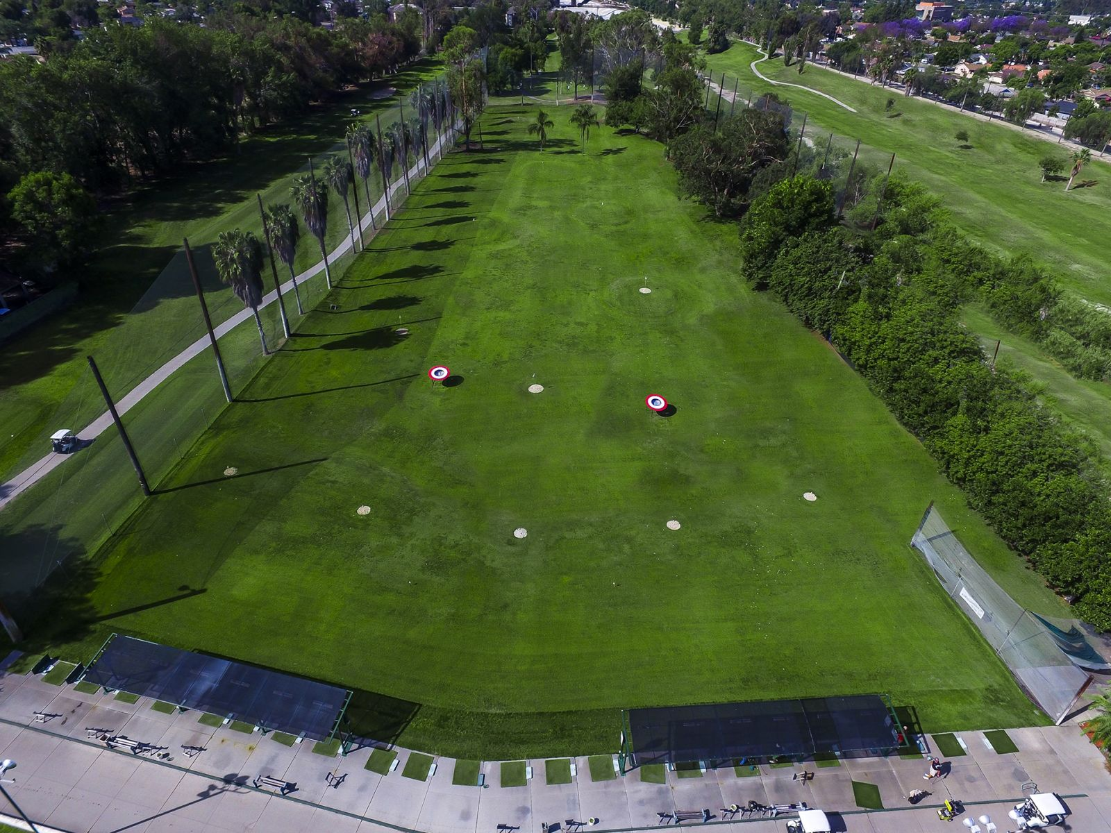 Aerial view of the driving range at River View Golf Course