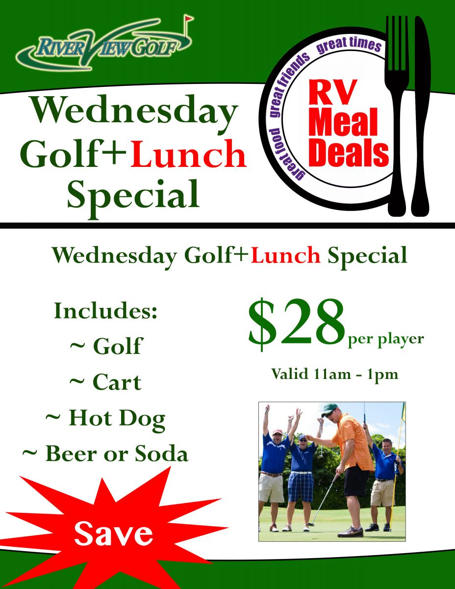 Wednesday Golf and Lunch Special flyer